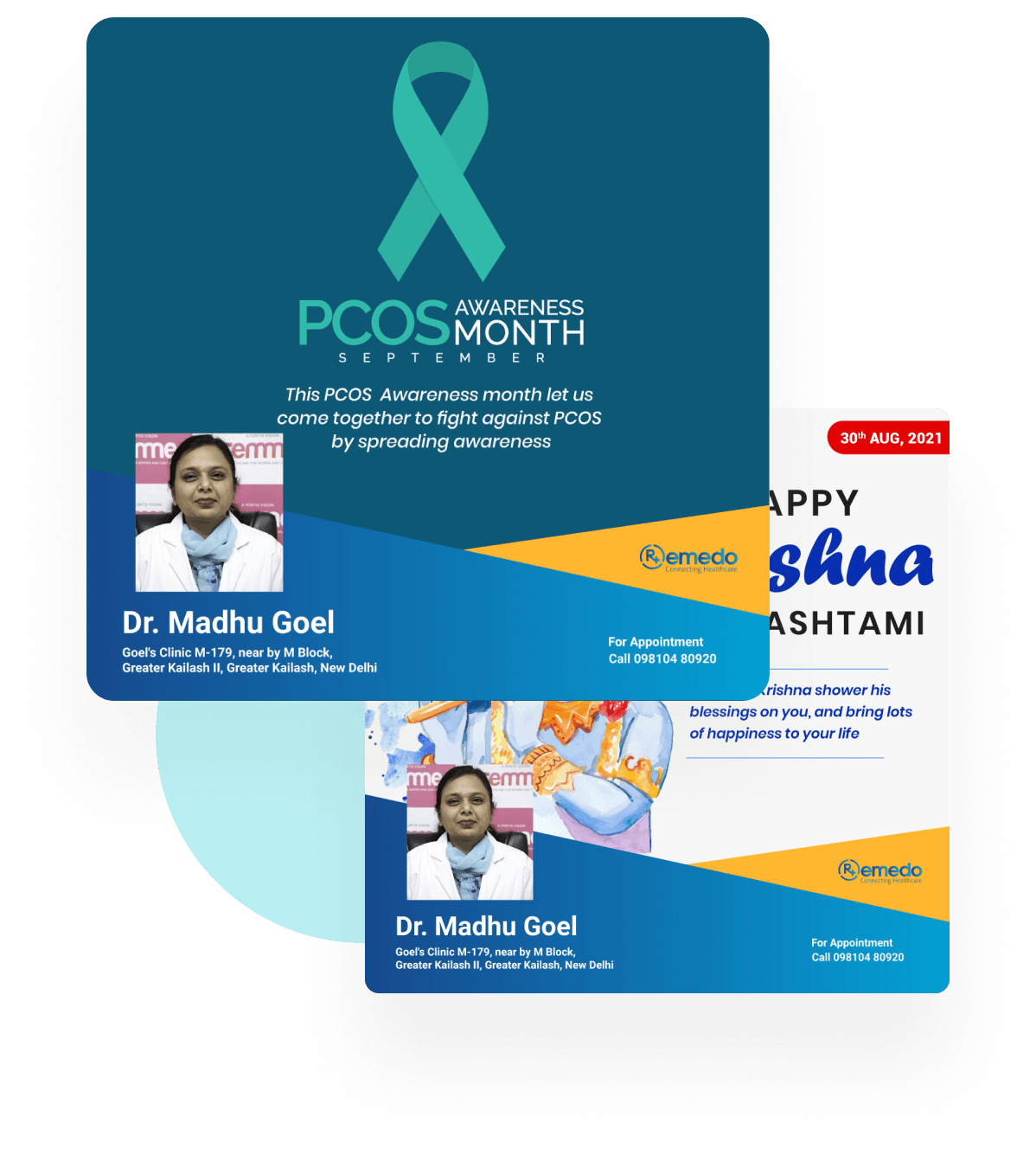 Profile cards for a Doctor