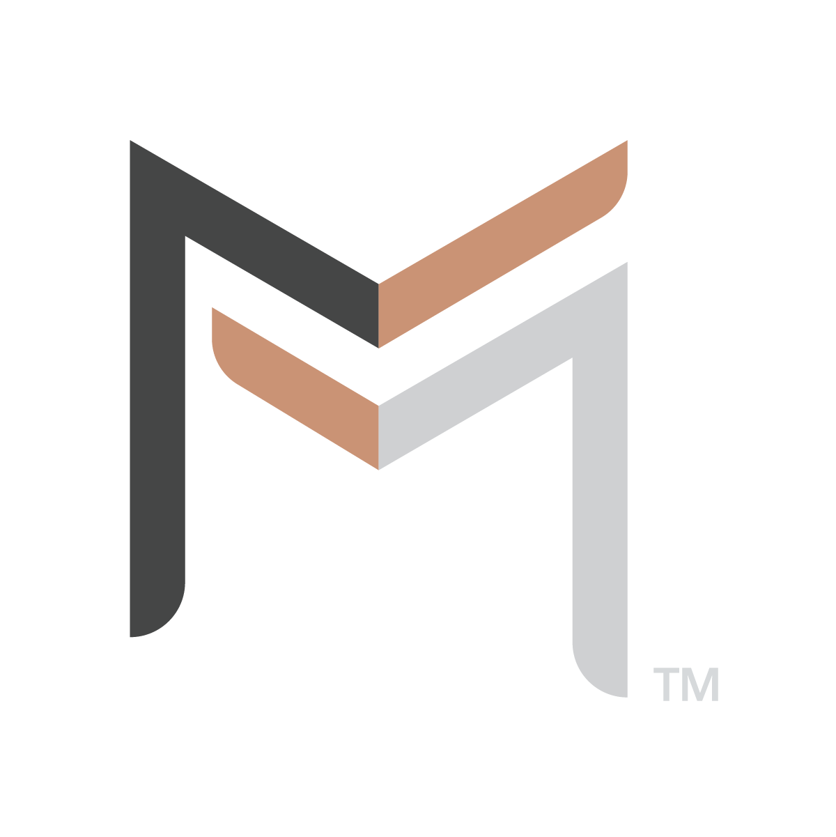 company logo for The Equitect™  of the letter m layered