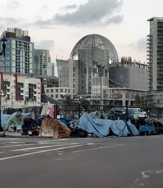 Homeless tents along a downtown city street