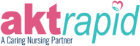 The Aktrapid logo. featuring a love heart with a caring hand