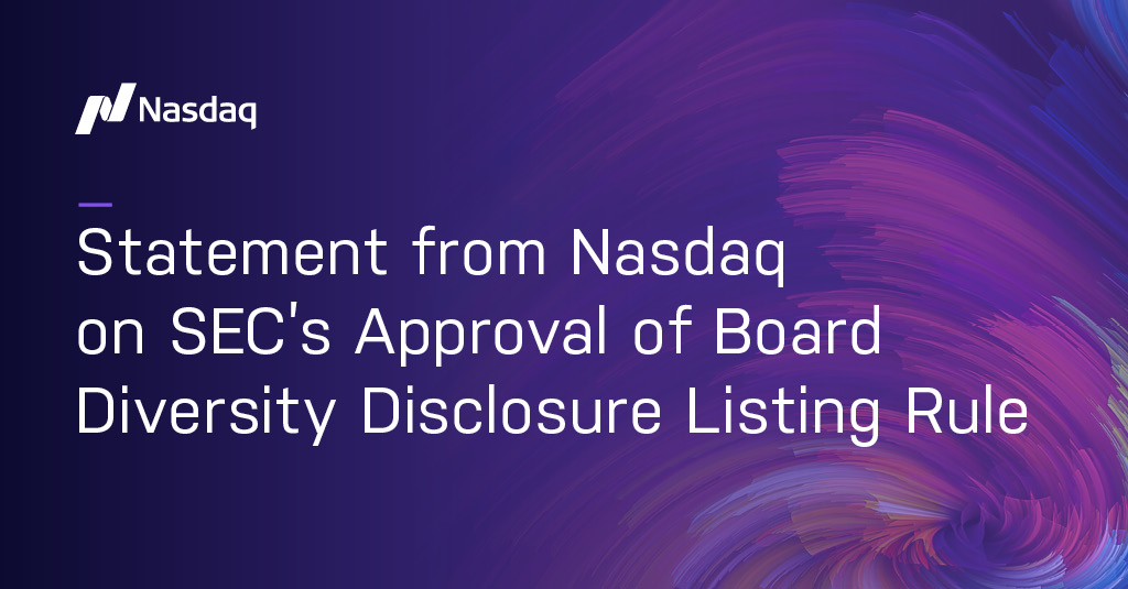 NASDAQ statement on SEC Board Diversity Disclosures