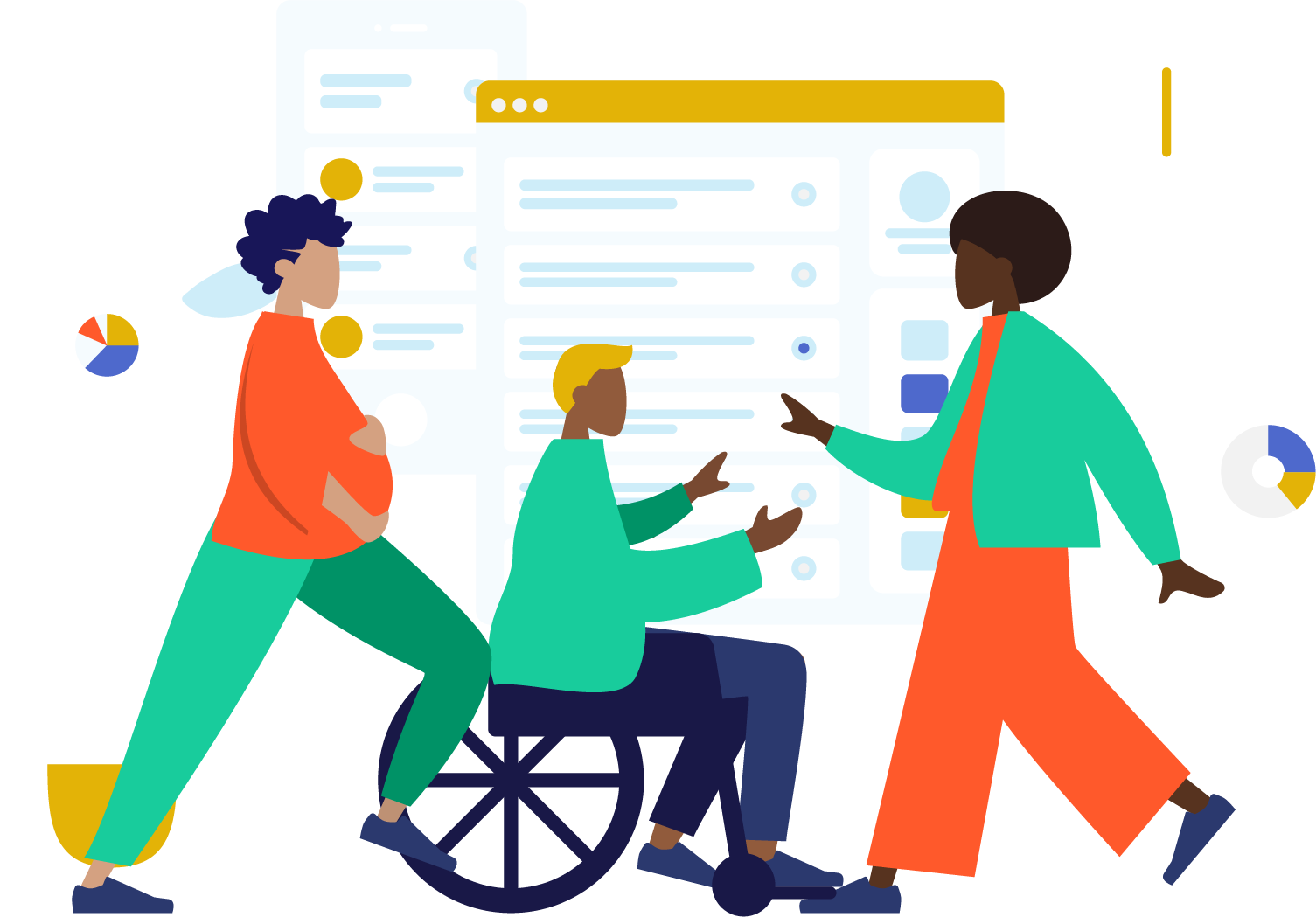 Illustration of 3 people discussing data