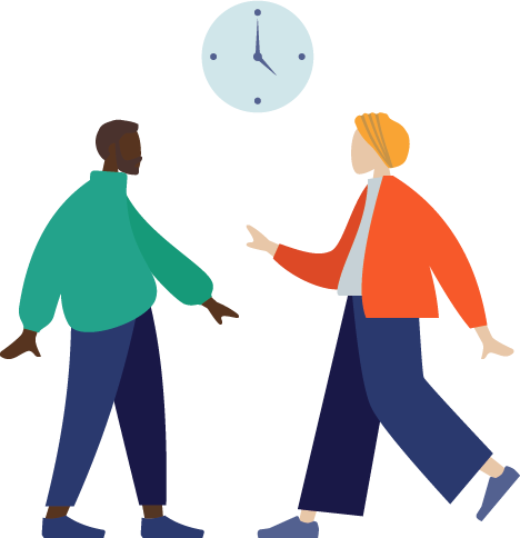 illustration of two people talking under a clock