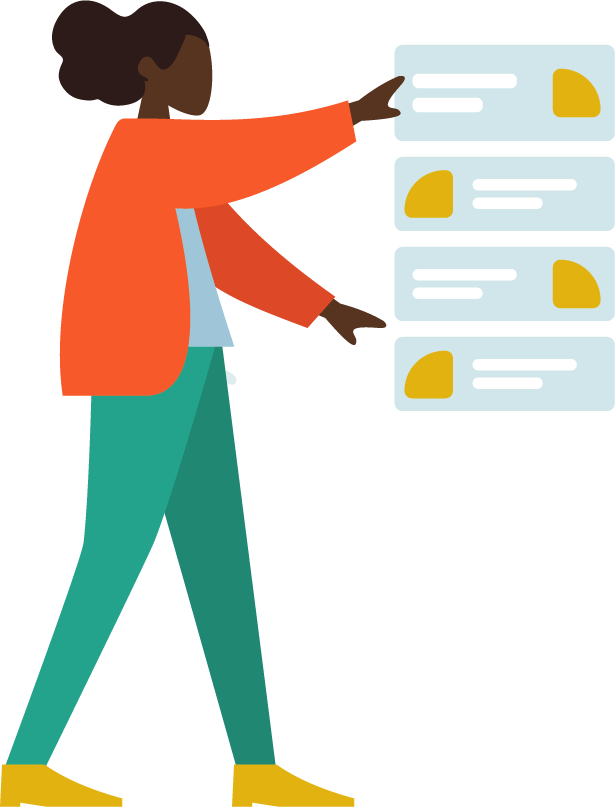 Illustration of a person arranging process step graphics