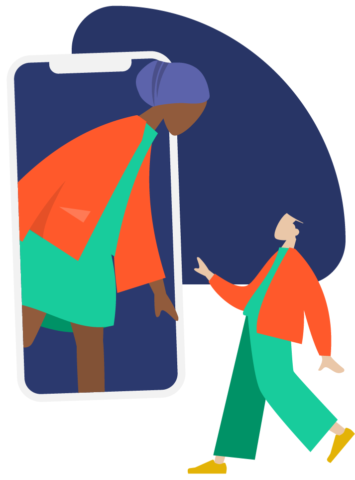 Illustration of a person appearing out from a mobile phone interacting with another person