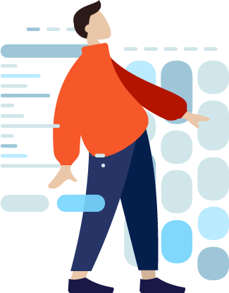 Abstract illustration of a person sanding amongst data graphics