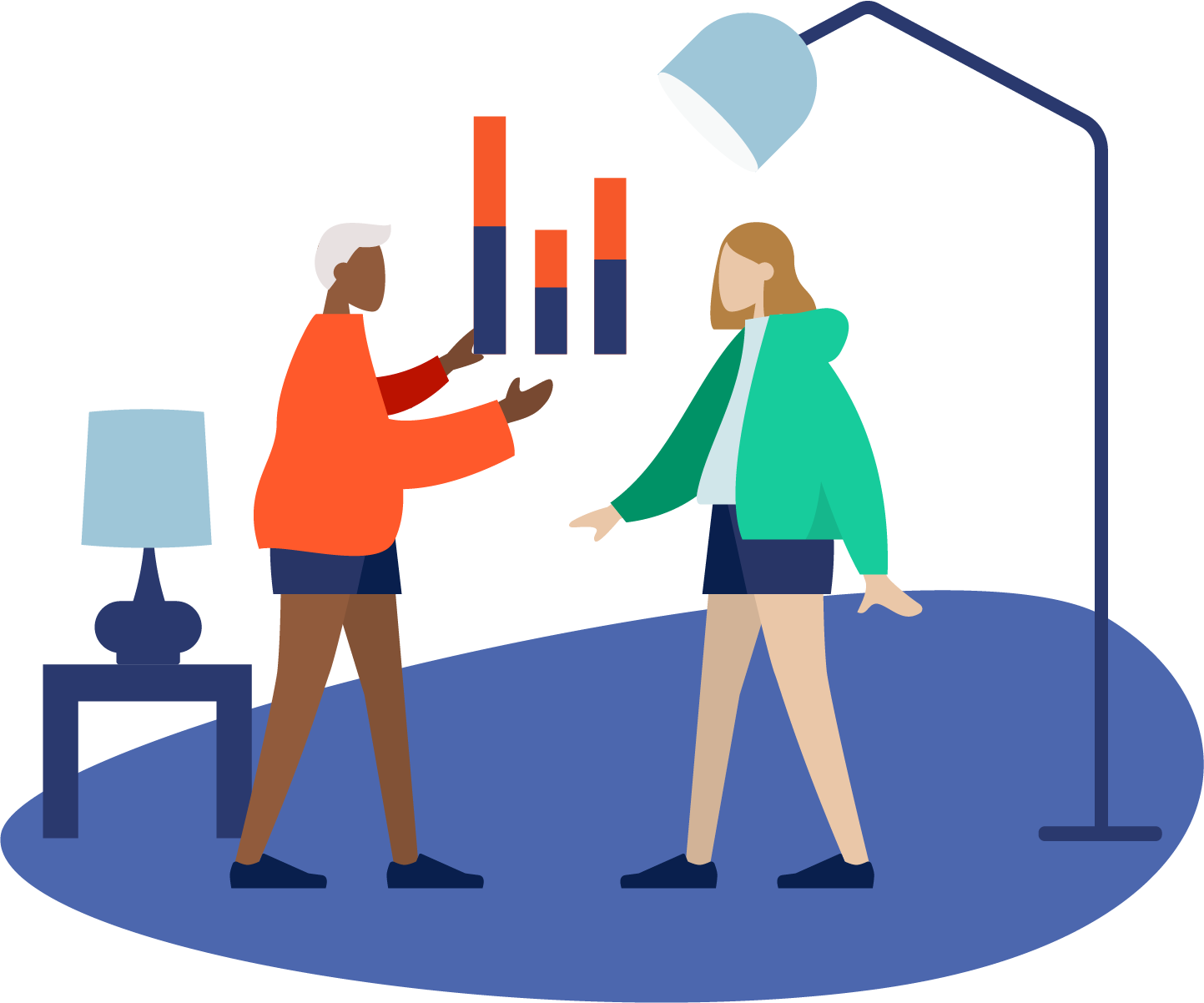 illustration of somebody welcoming someone to the business