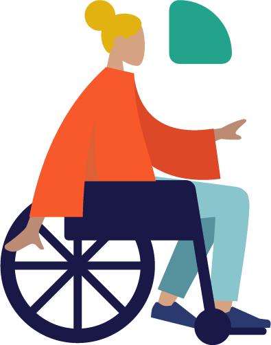 Illustration of a person in a wheelchair