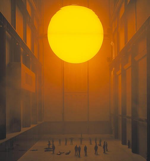 Sun orb in large hall.