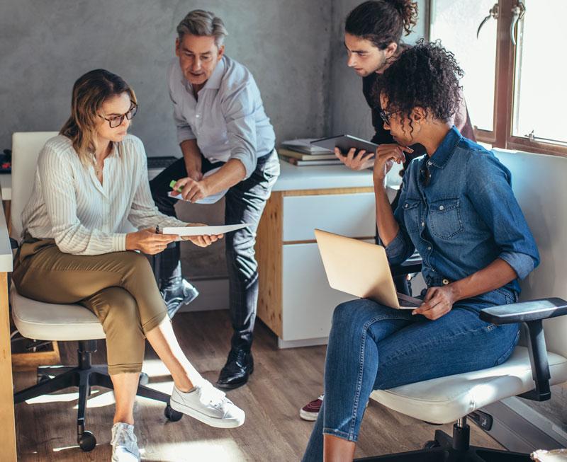 Office team members in a meeting