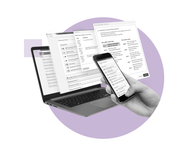 Uplevel Systems management dashboard accessible through both mobile and desktop devices