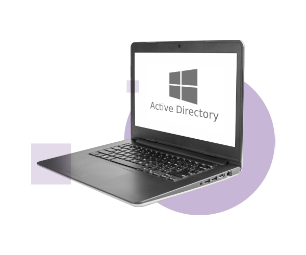 A PC laptop displaying the Microsoft Active Directory logo screen