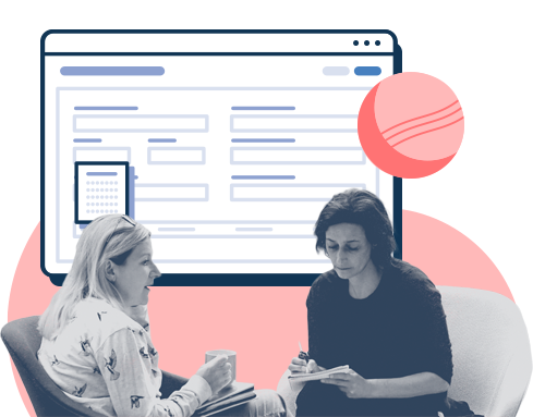 Two business people with a large fullcast ui floating behind them, show the constant planning.