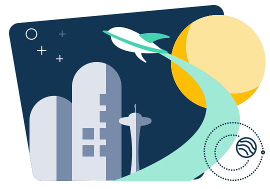 a futurist city illustrated with a cool rocket