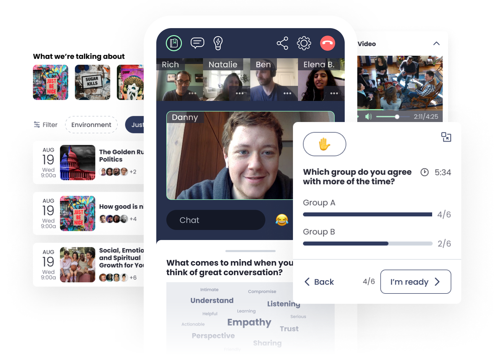 Screenshots of the product, including Conversation Guides, Events, the Video Conversation Experience, Surveys, and Word Clouds.
