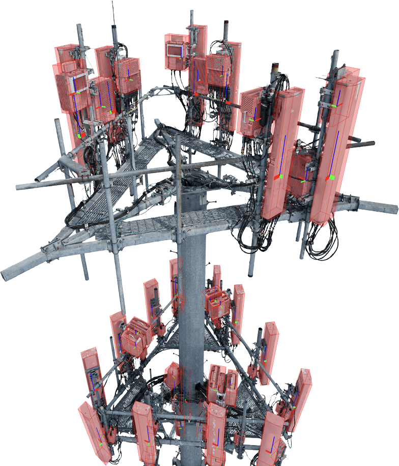 A cell tower with red overlays highlighting its parts