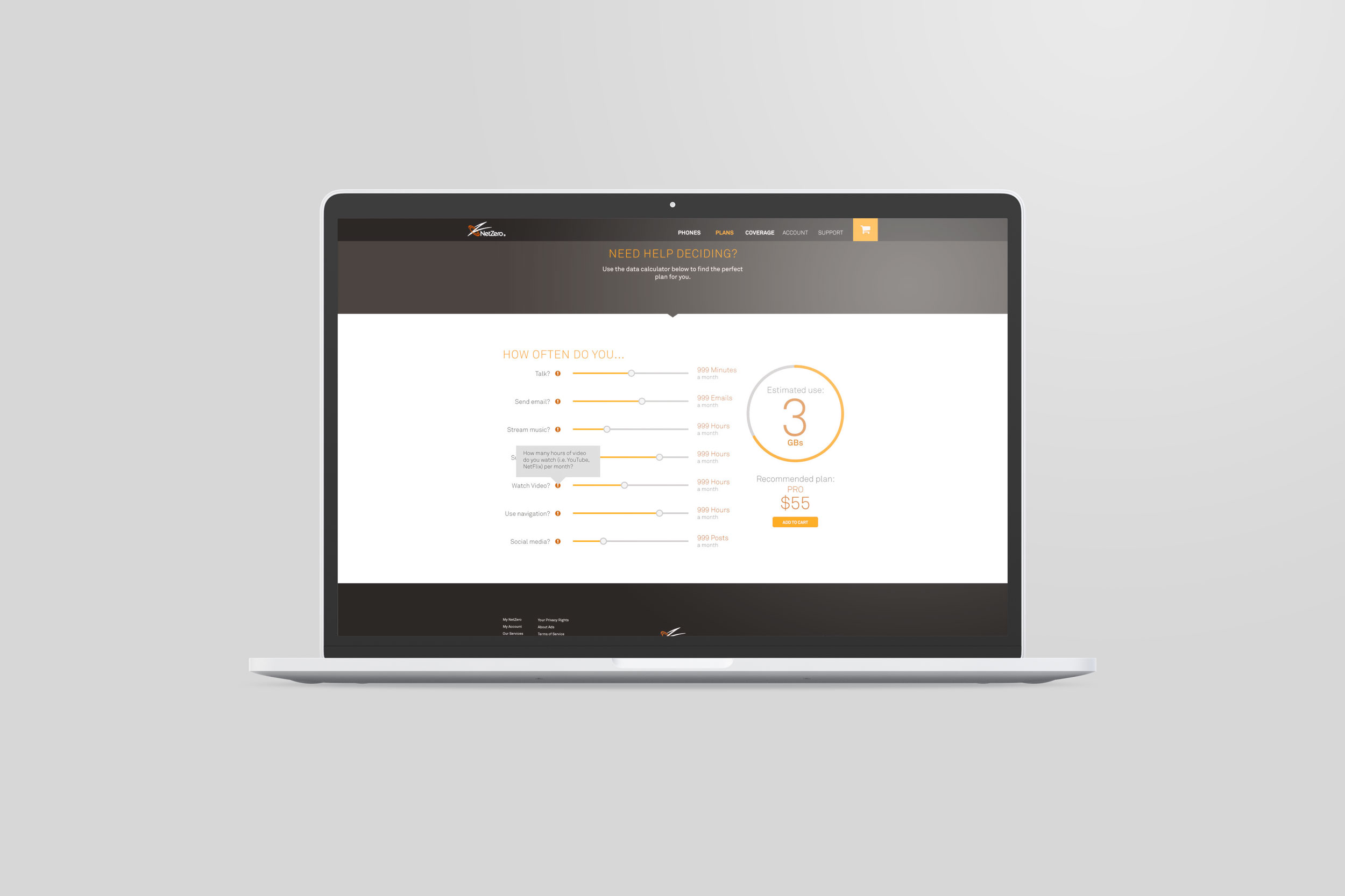 Laptop with NetZero site page