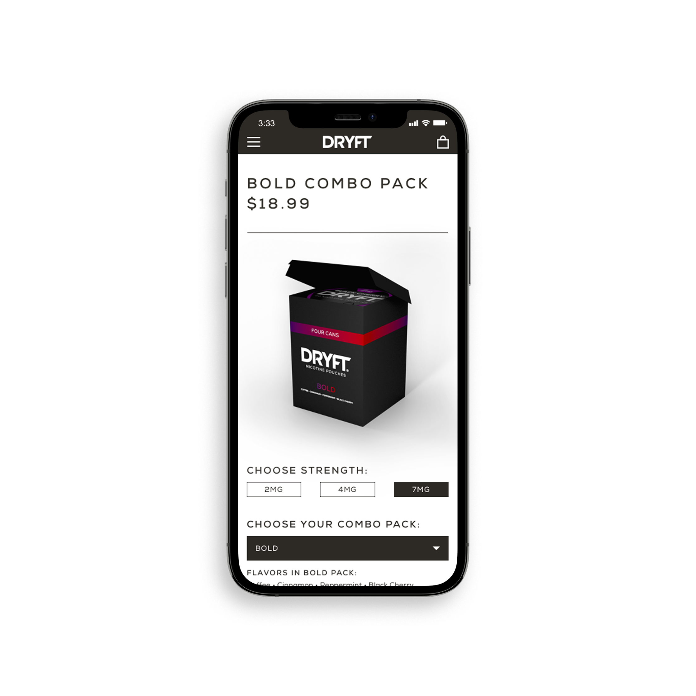 iPhone mobile DRYFT combo pack page