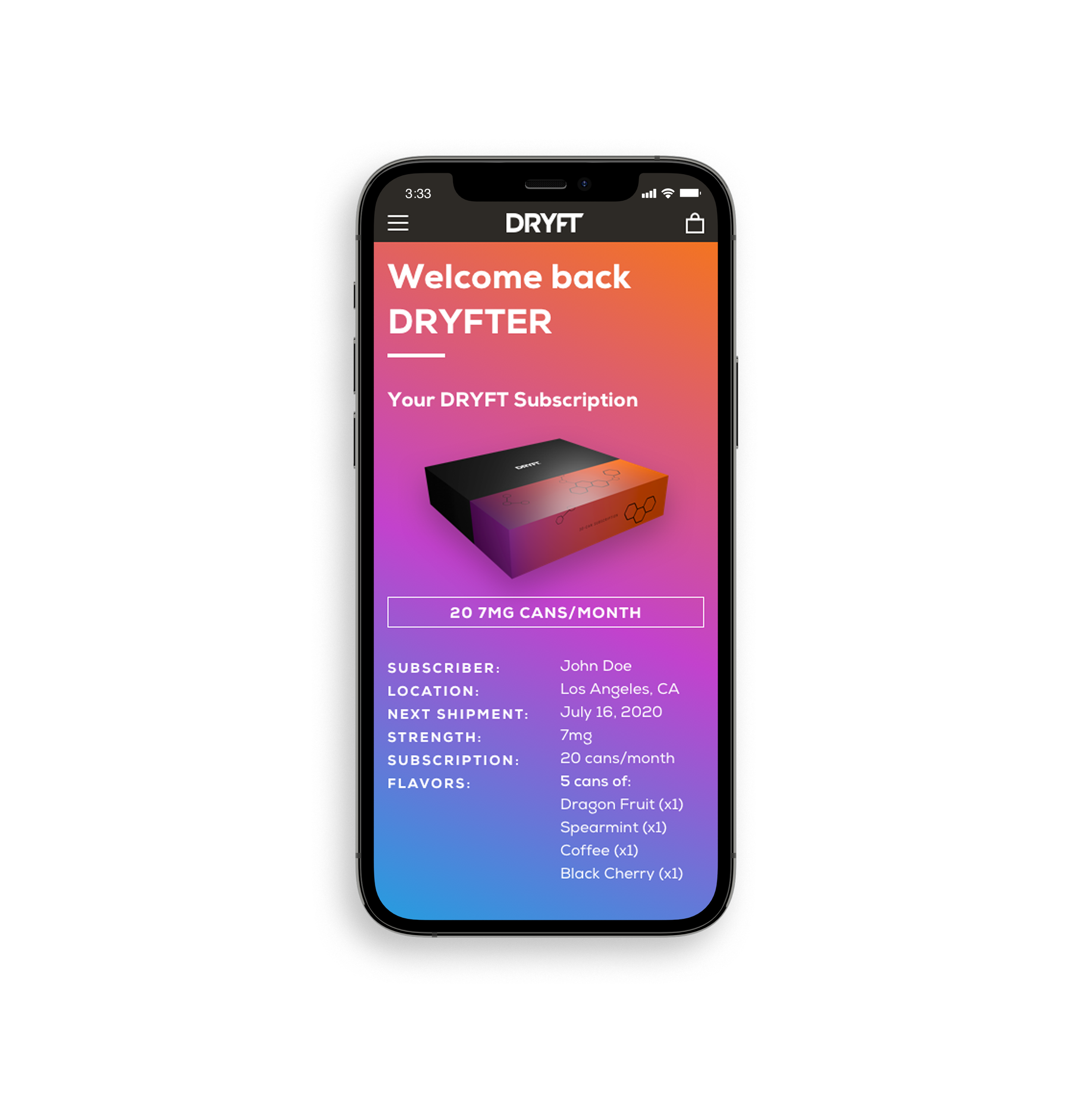 iPhone mobile with DRYFT user account page