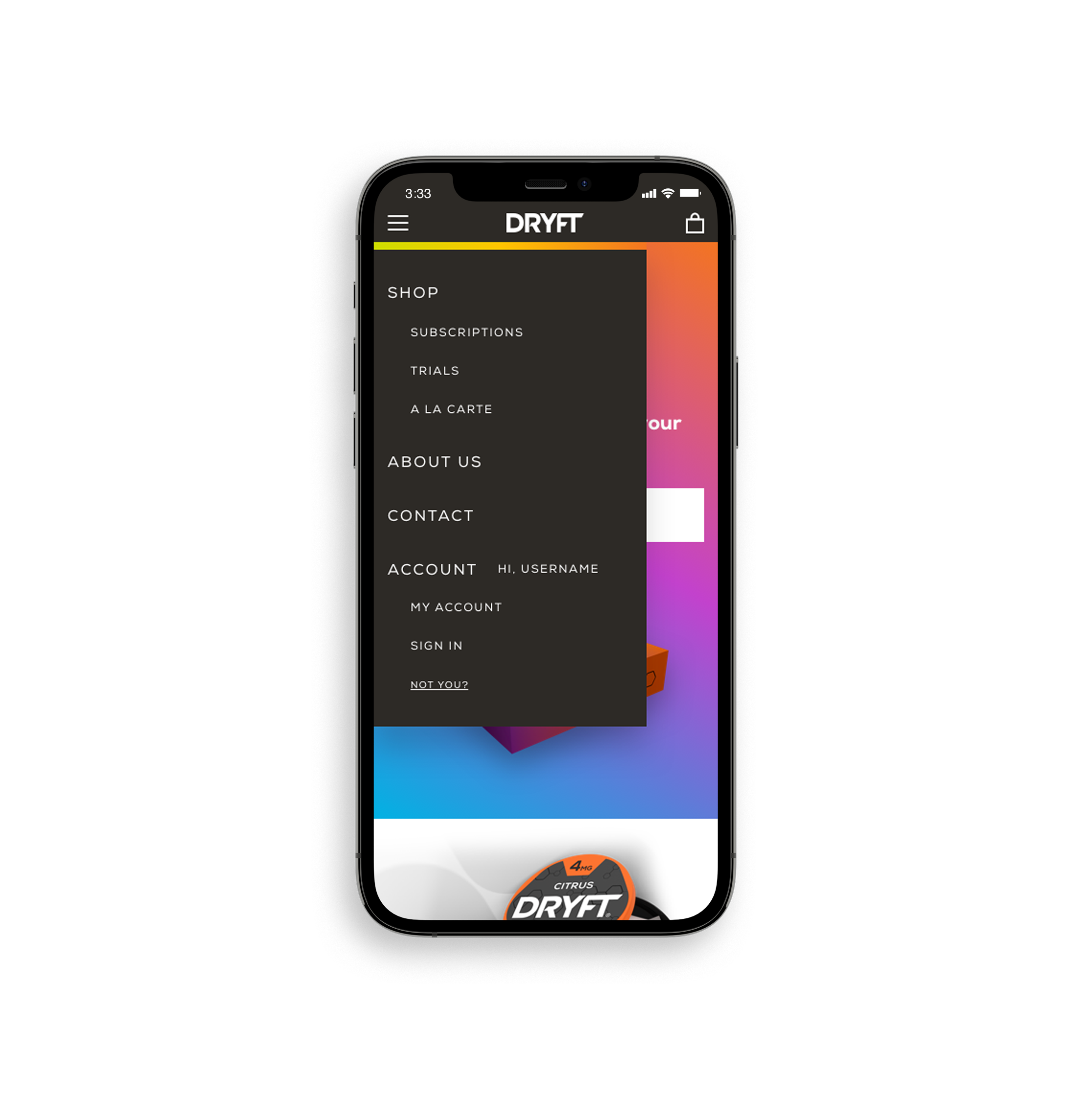 iPhone mobile DRYFT user account page with open menu