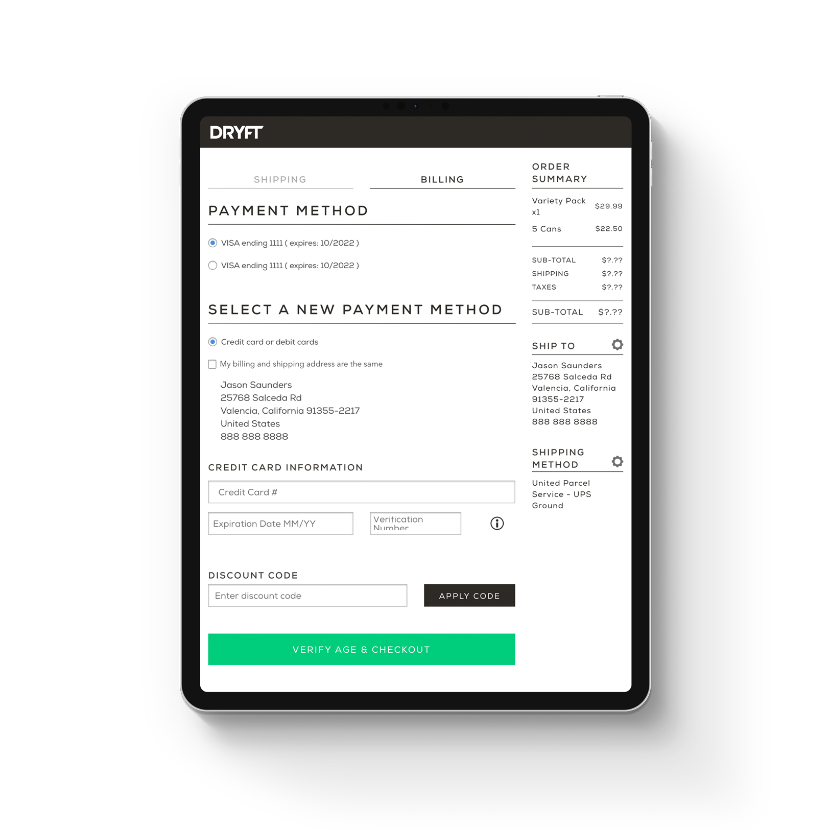 iPad tablet DRYFT payment billing page