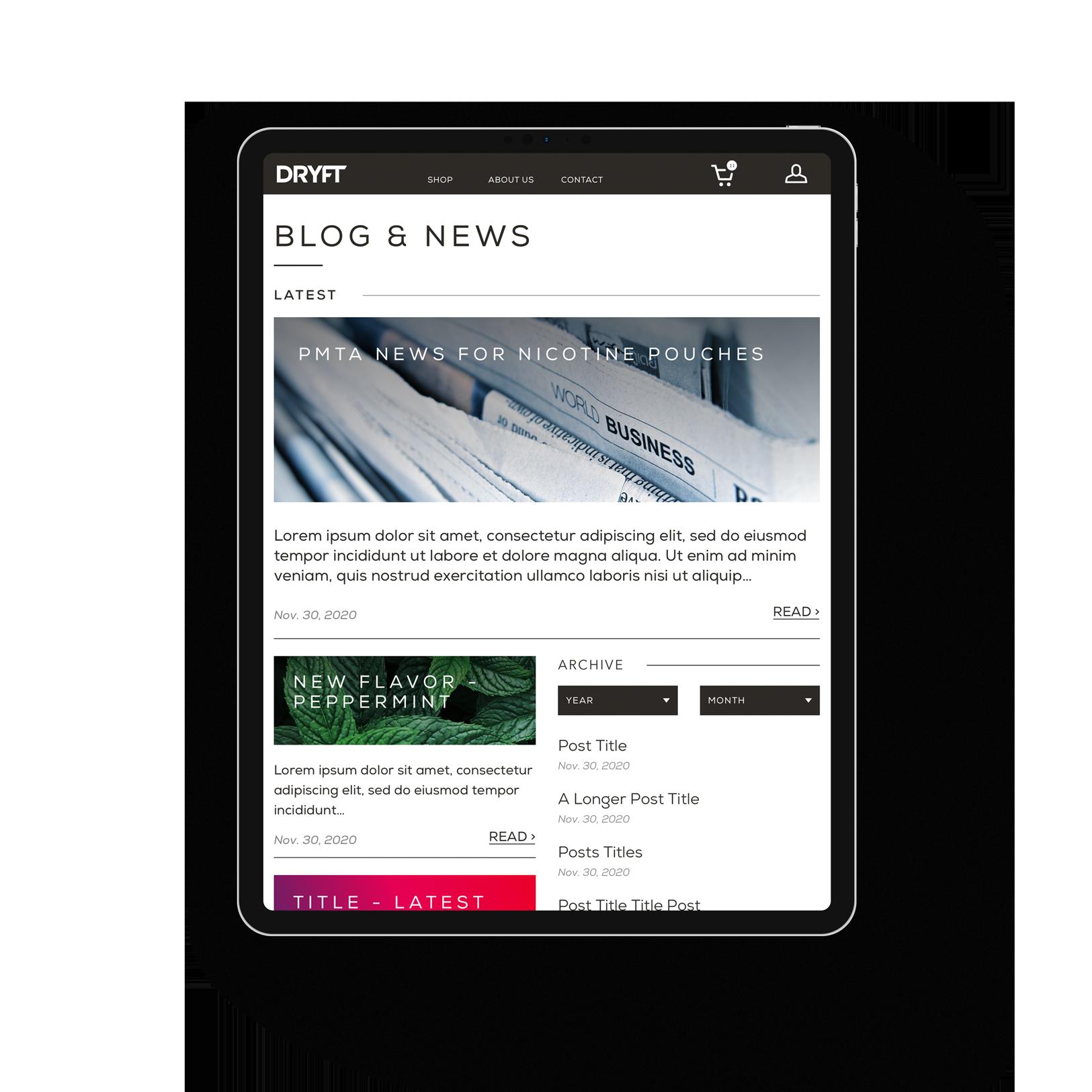 iPad tablet DRYFT blog news page