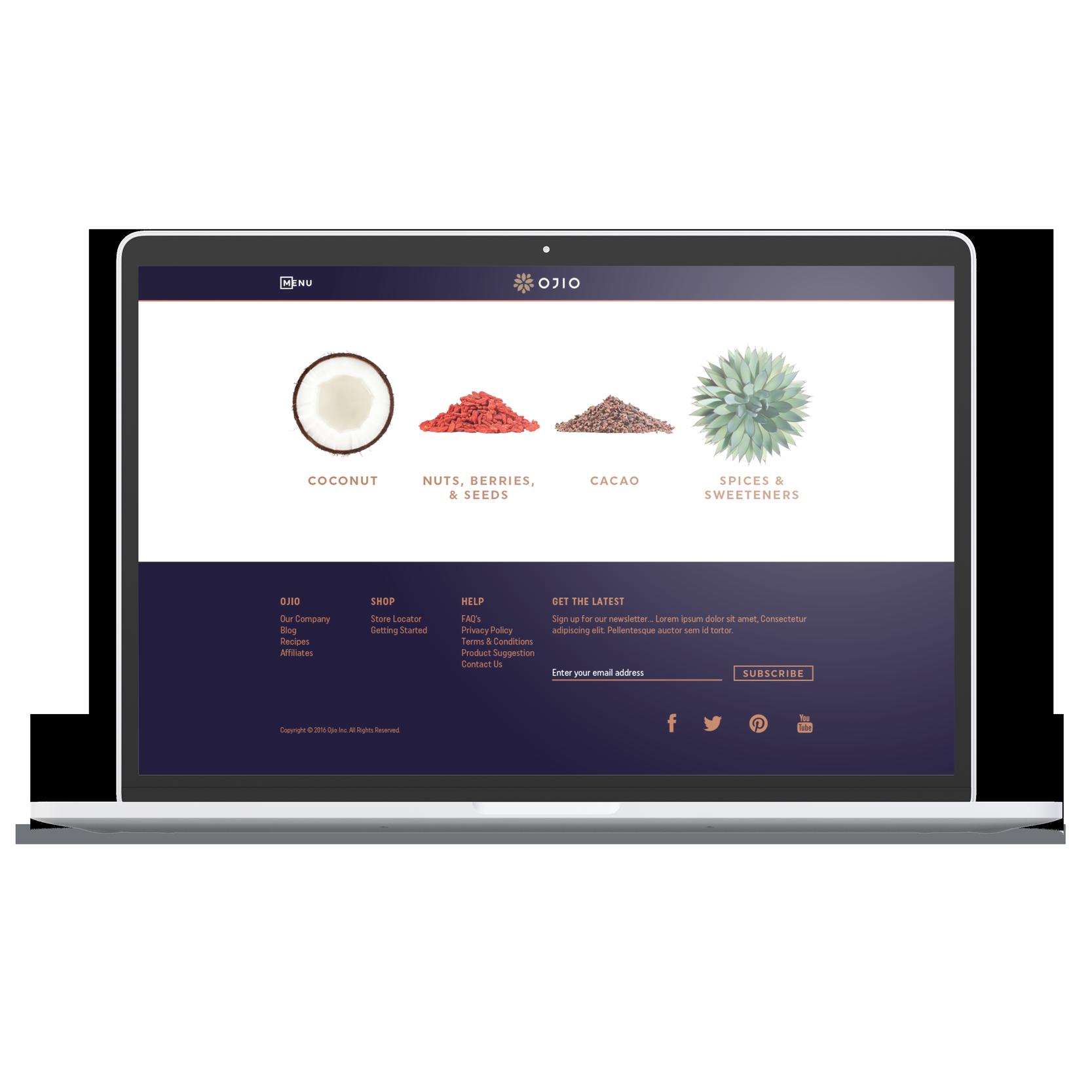 laptop desktop OJIO products page category selection