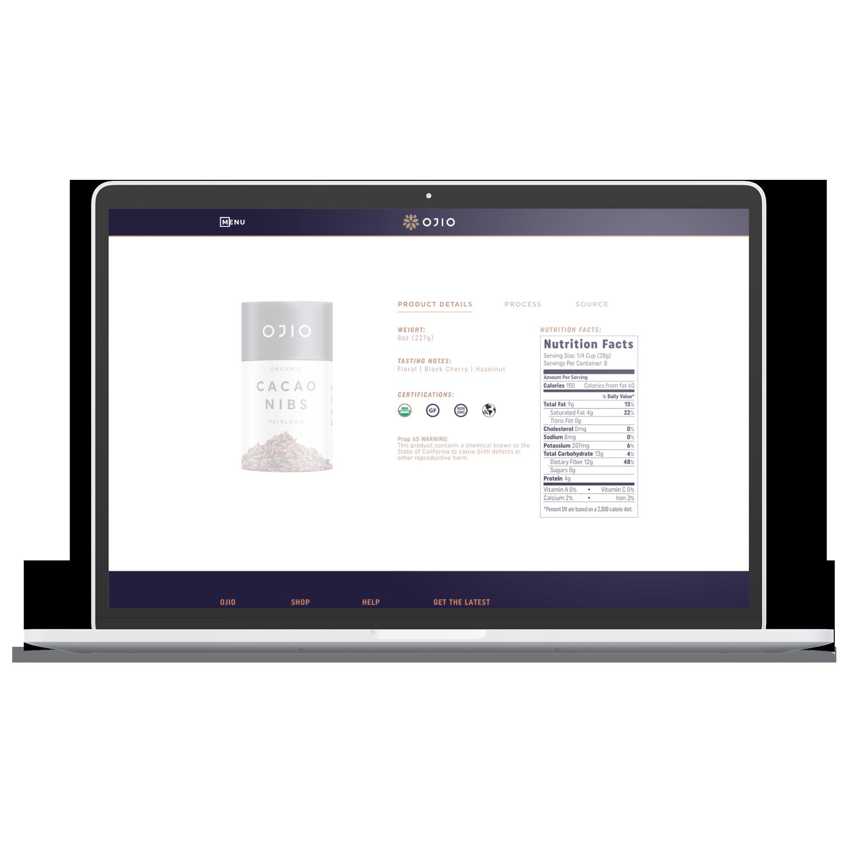 laptop desktop OJIO product page details nutrition facts