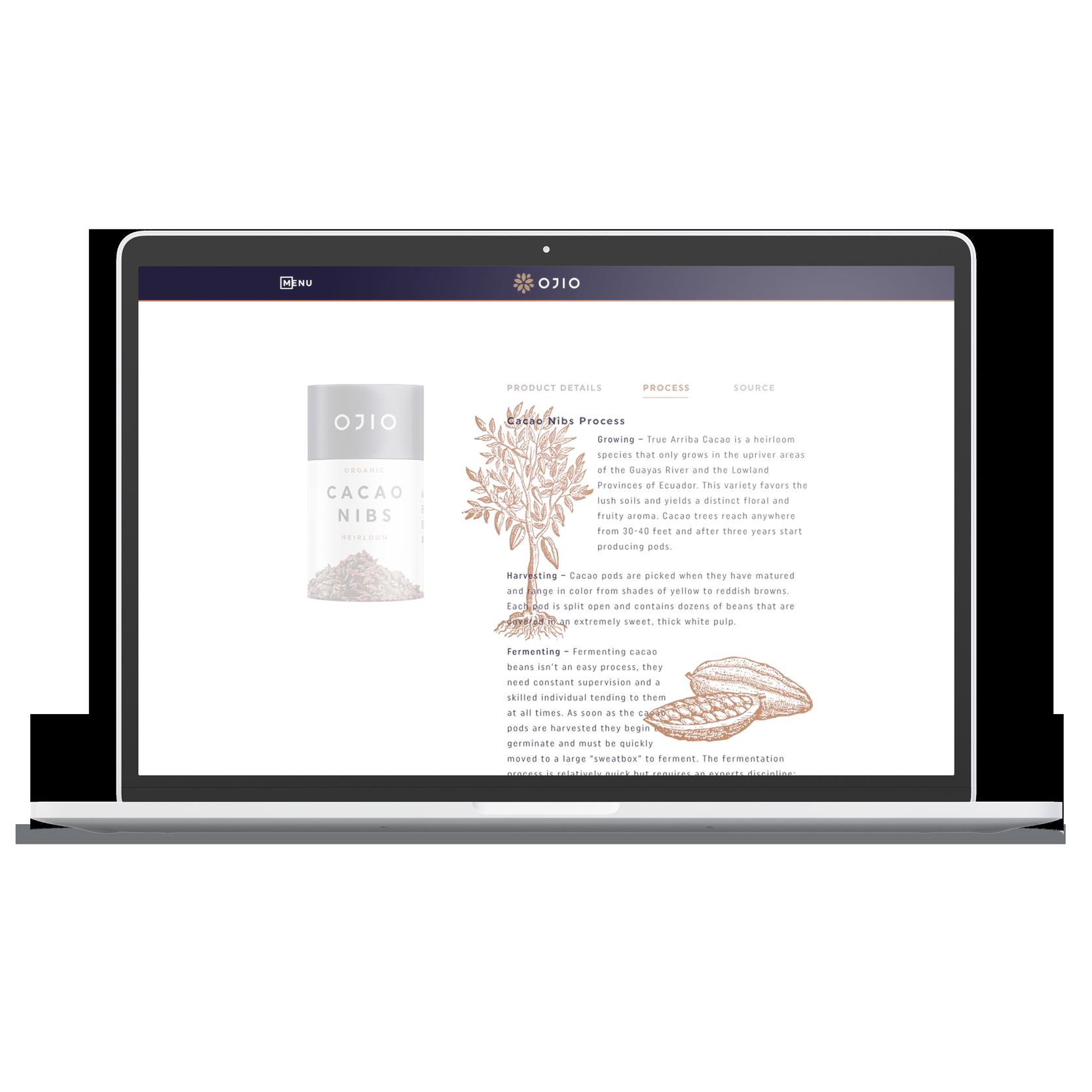 laptop desktop OJIO product page process description