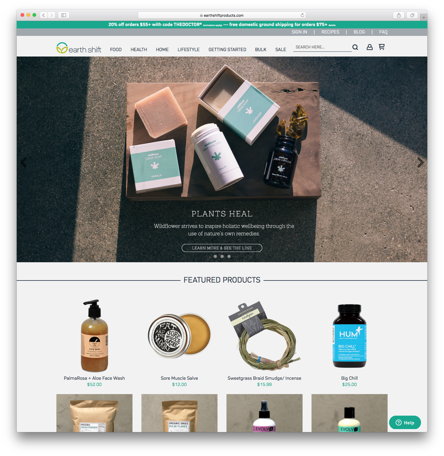 desktop Earth Shift Products home page hero image product selection page