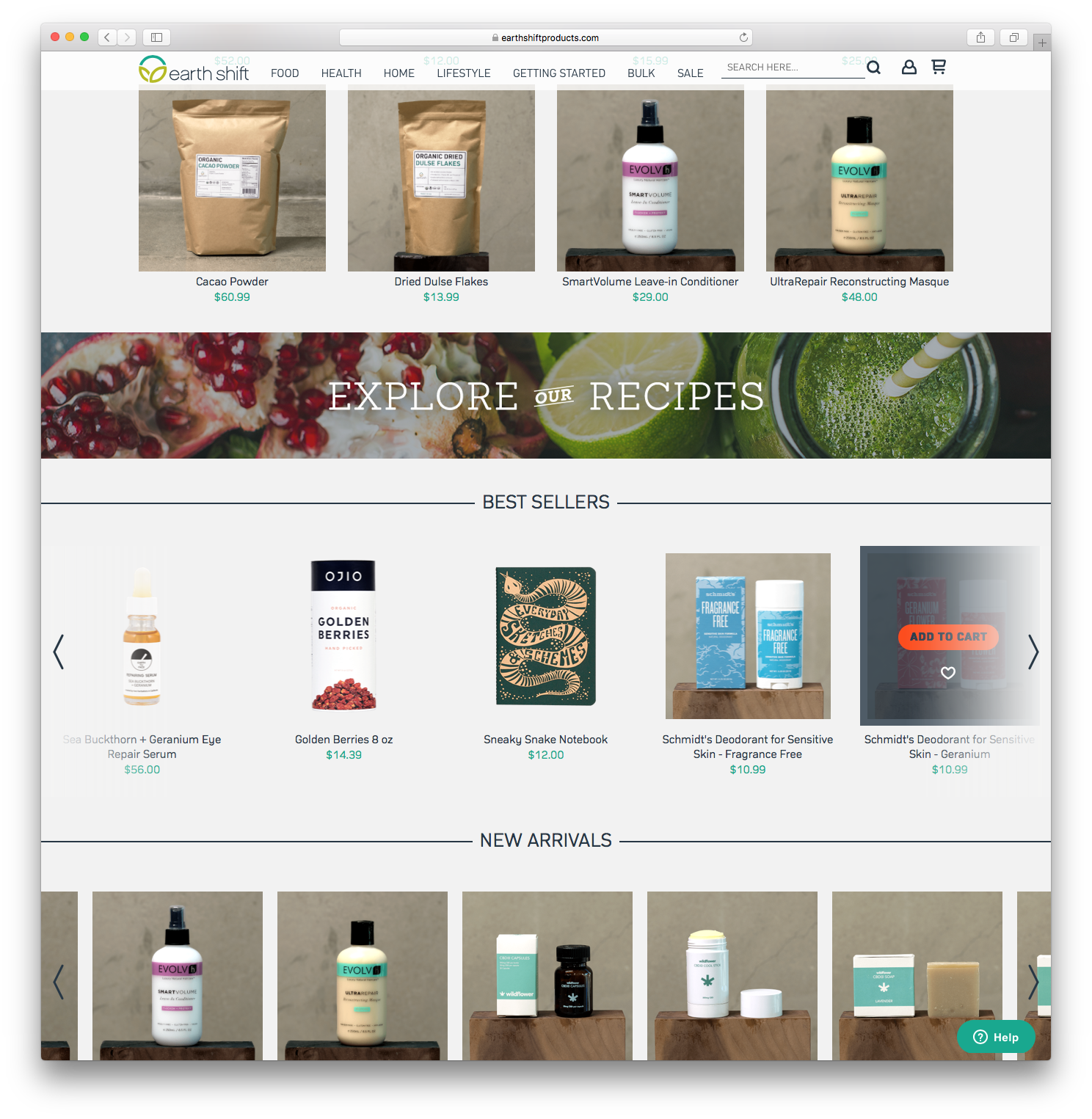 desktop Earth Shift Products home page product selection page explore recipes