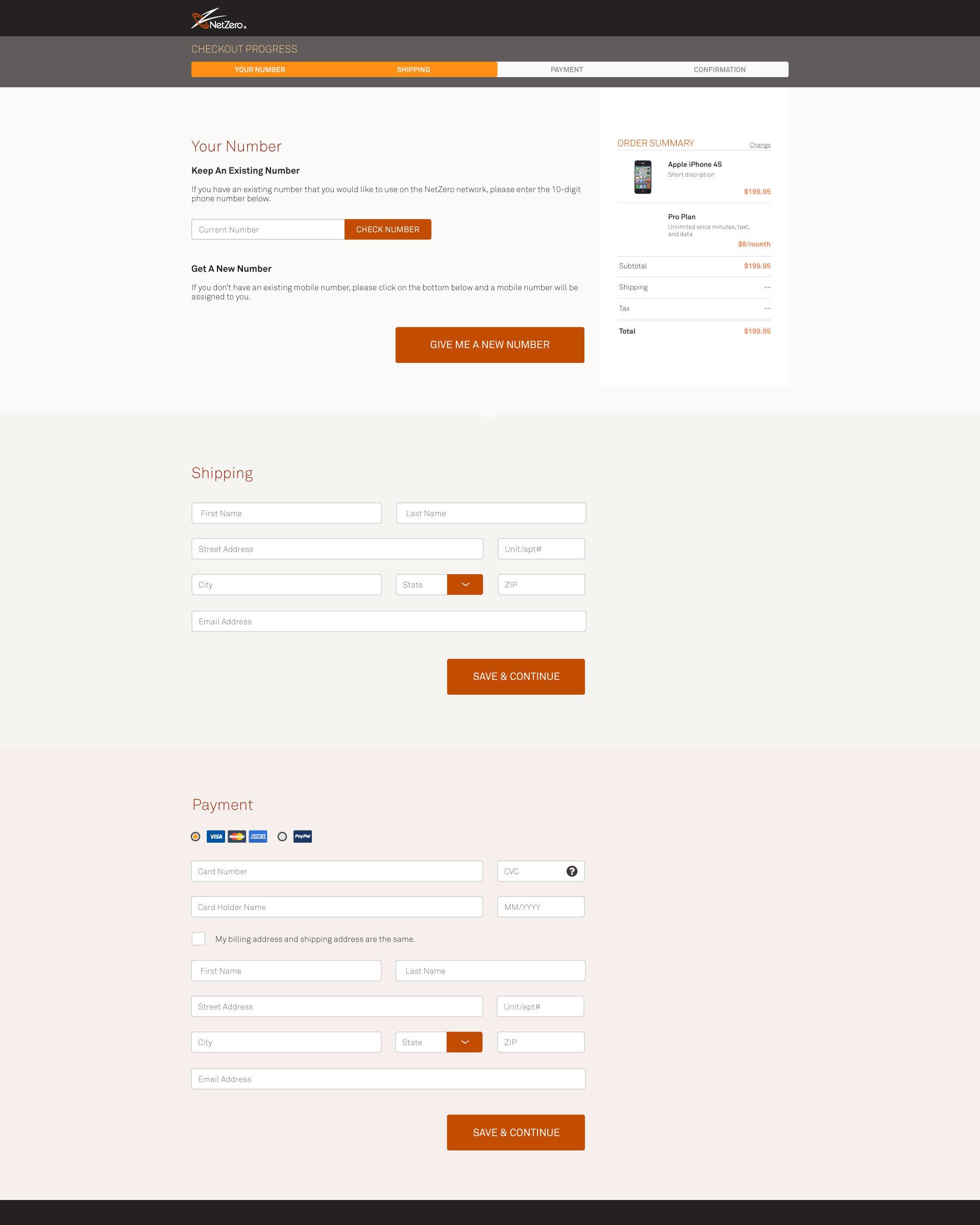 desktop NetZero checkout process page cart shipping and billing