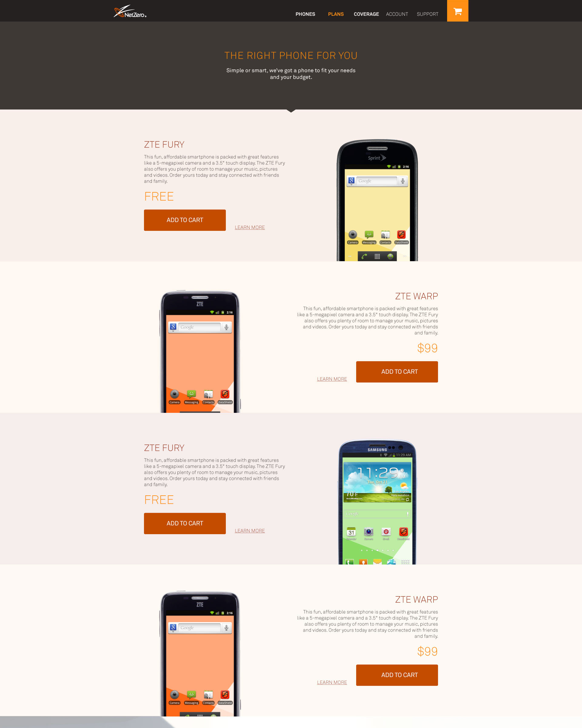 desktop NetZero phone selection page