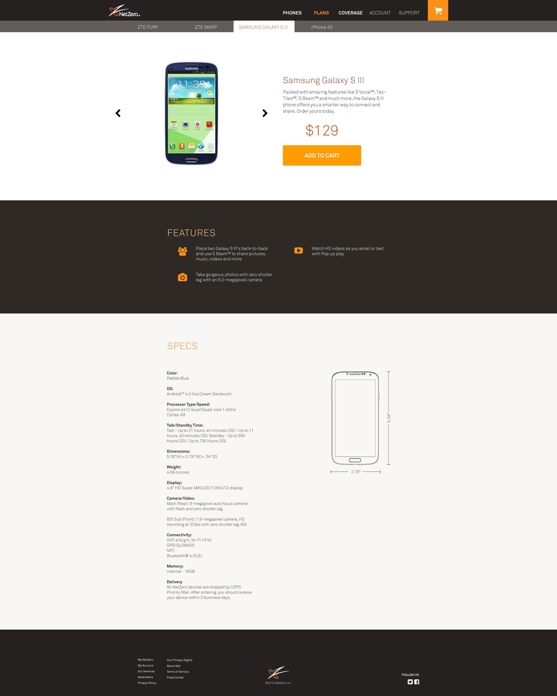 desktop NetZero product phone page with price