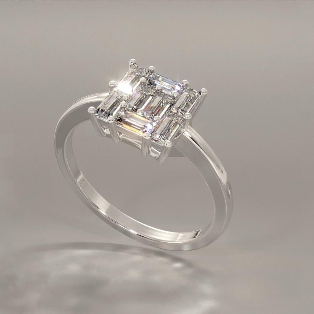 R01—PT—D Pavé Baguette Diamond Ring