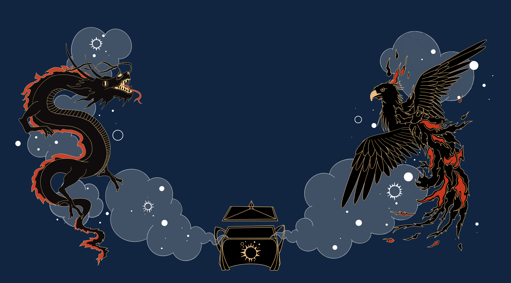 A digital illustration of a dragon and a phoenix facing each other, with a black box between them. Both creatures are black with red and gold details. Clouds and stars in pale blue and white are moving around them.