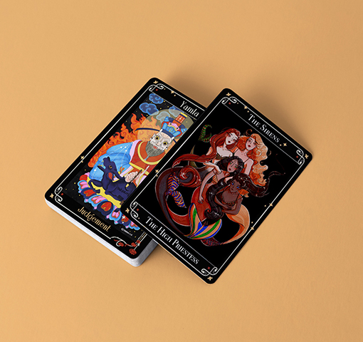 Two playing cards showing mythological creatures, on a yellow background.