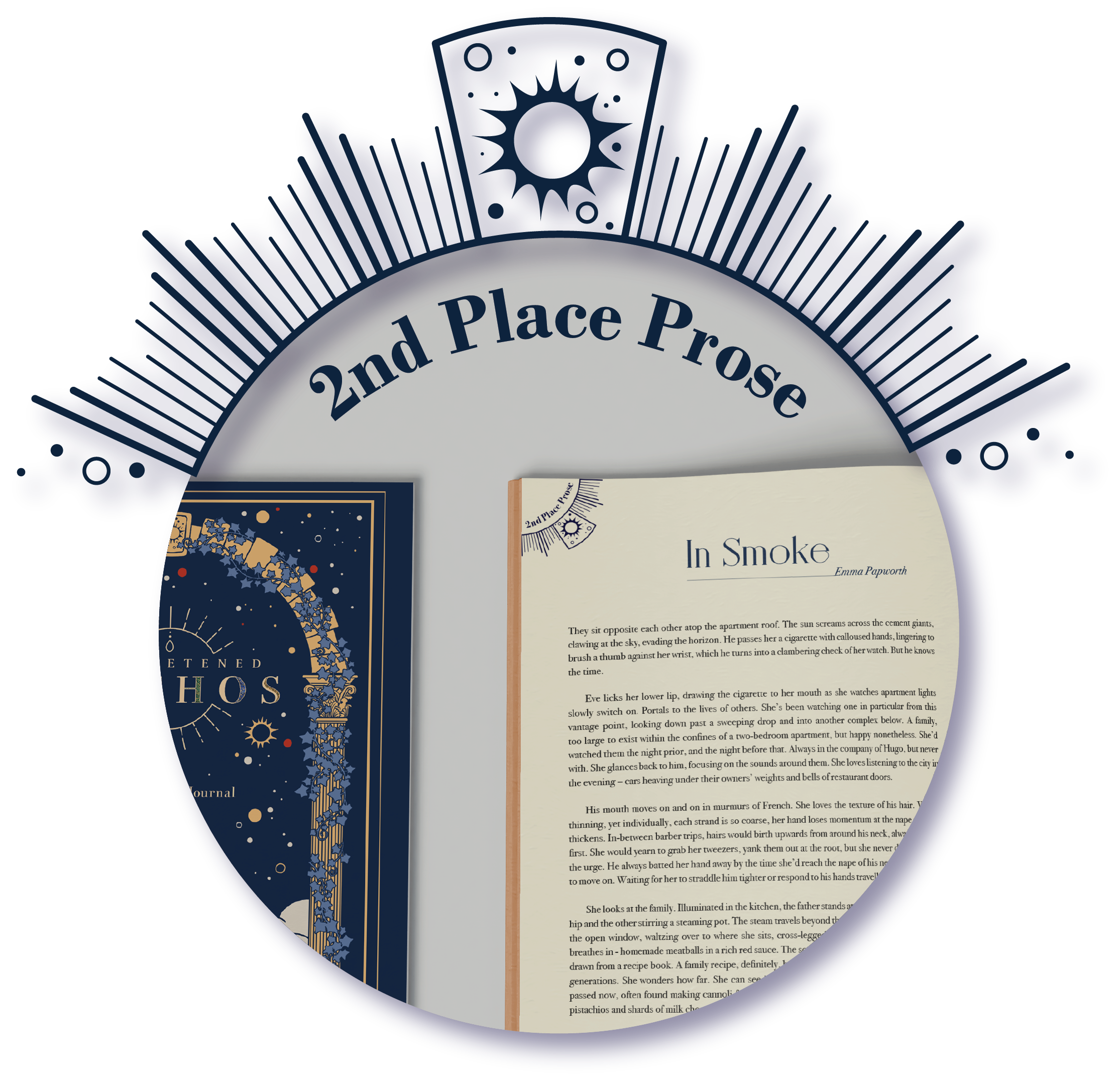 The prize-winner logo for 2nd place prose, showing the journal page for 'In Smoke' by Emma Papworth.