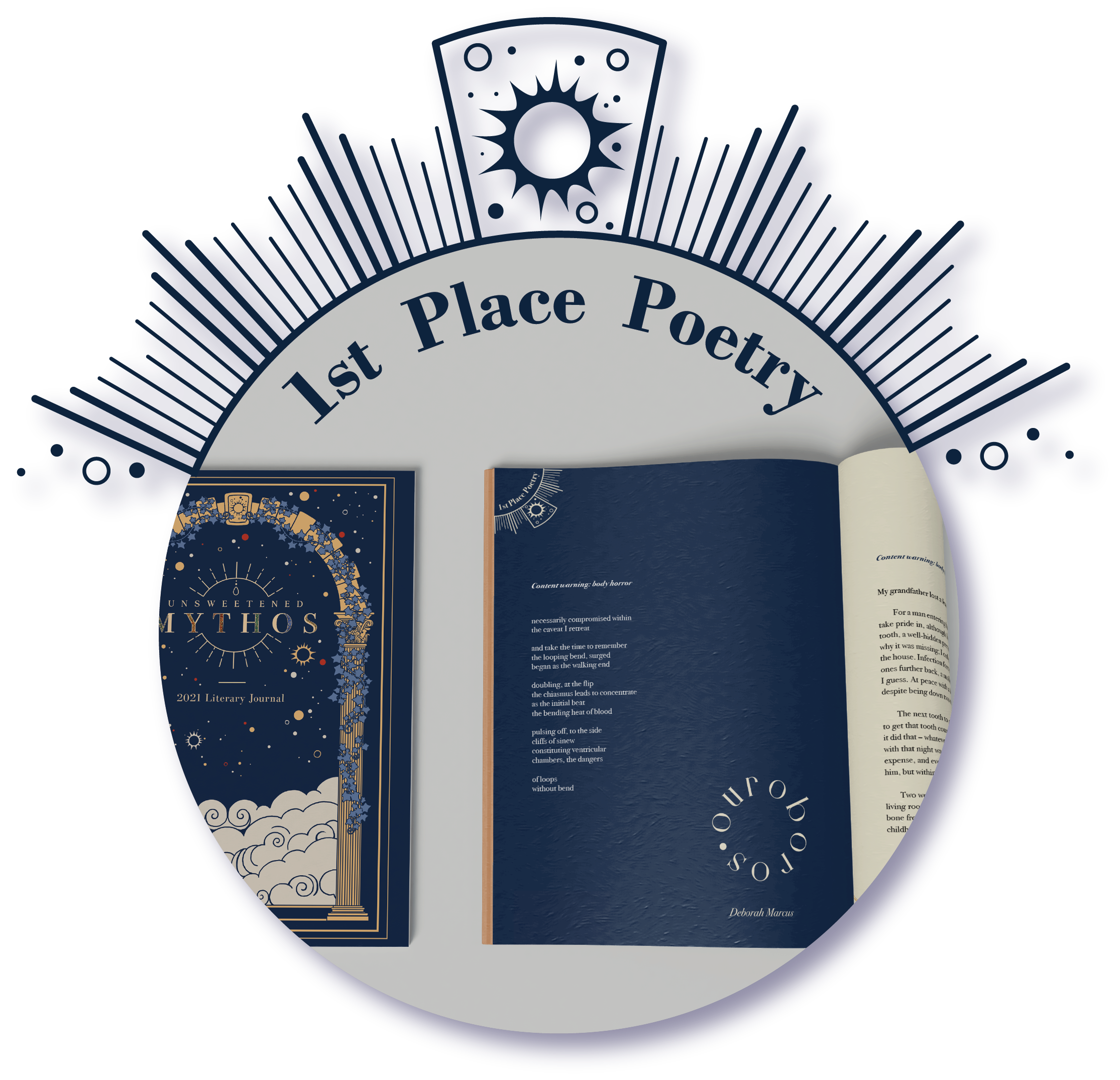 The prize-winner logo for 1stplace poetry, showing the journal page for 'Ouroboros' by Deborah Marcus.