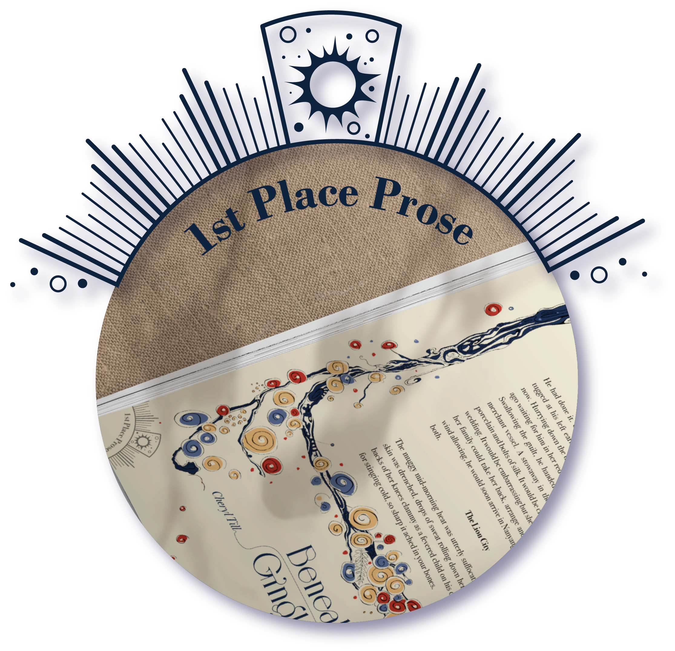 The prize-winner logo for 1st place poetry, showing the journal page for 'Beneath the Gingko Tree' by Cheryl Till.
