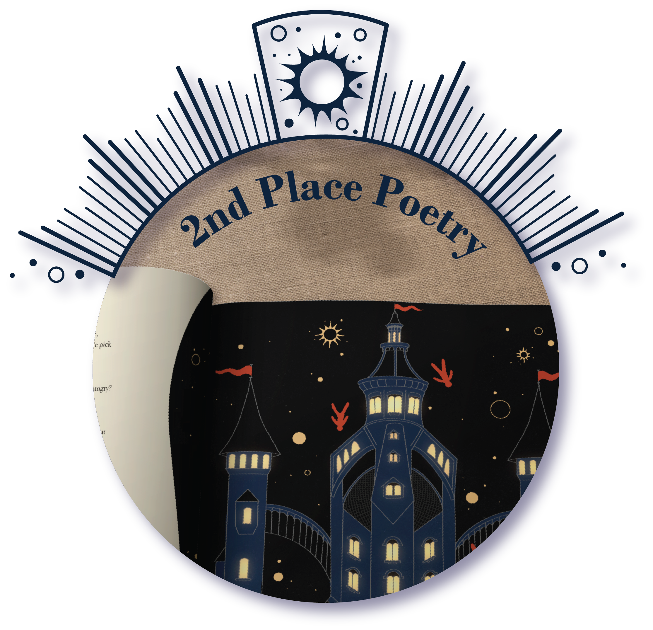 The prize-winner logo for 2nd place poetry, showing the journal page for 'The Tower' by Alexa Stevens.