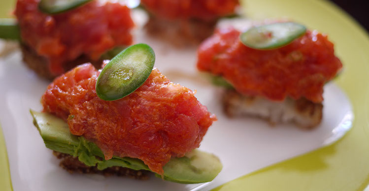 Anaba Sushi in Oxnard: one of popular appetizer: Spicy Tuna Rice Cake