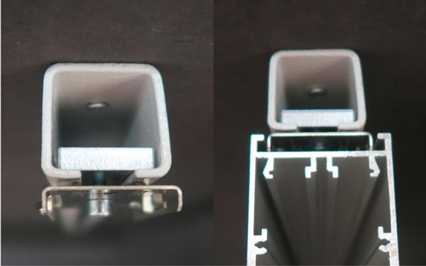 Foto der Deckenmontage mit Montageschienen frontal