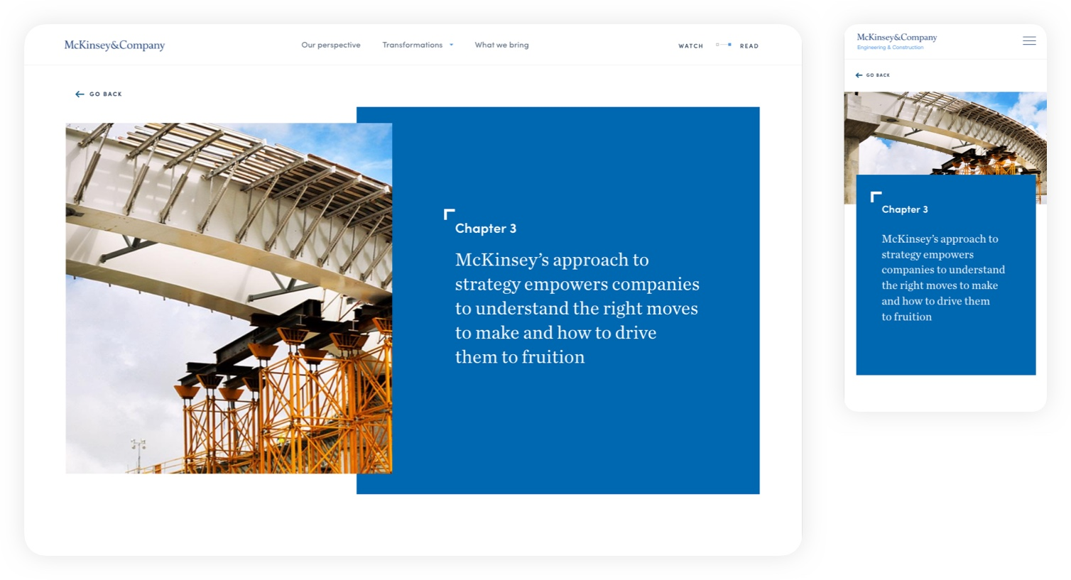Design for chapter 3: our approach – McKinsey C&E experience website: Navigating complexity