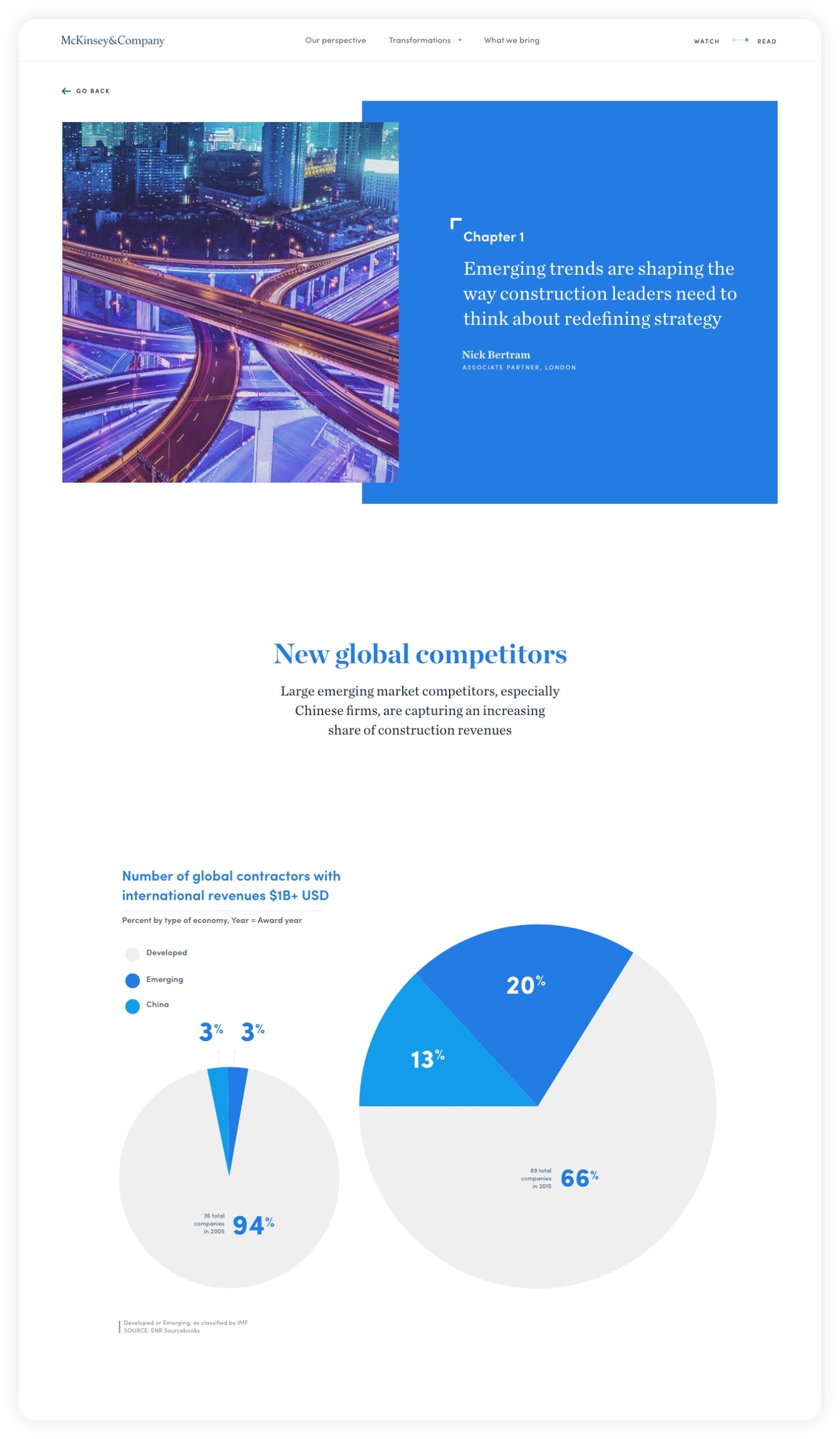 Design for chapter 1: Emerging trends – McKinsey C&E experience website: Navigating complexity