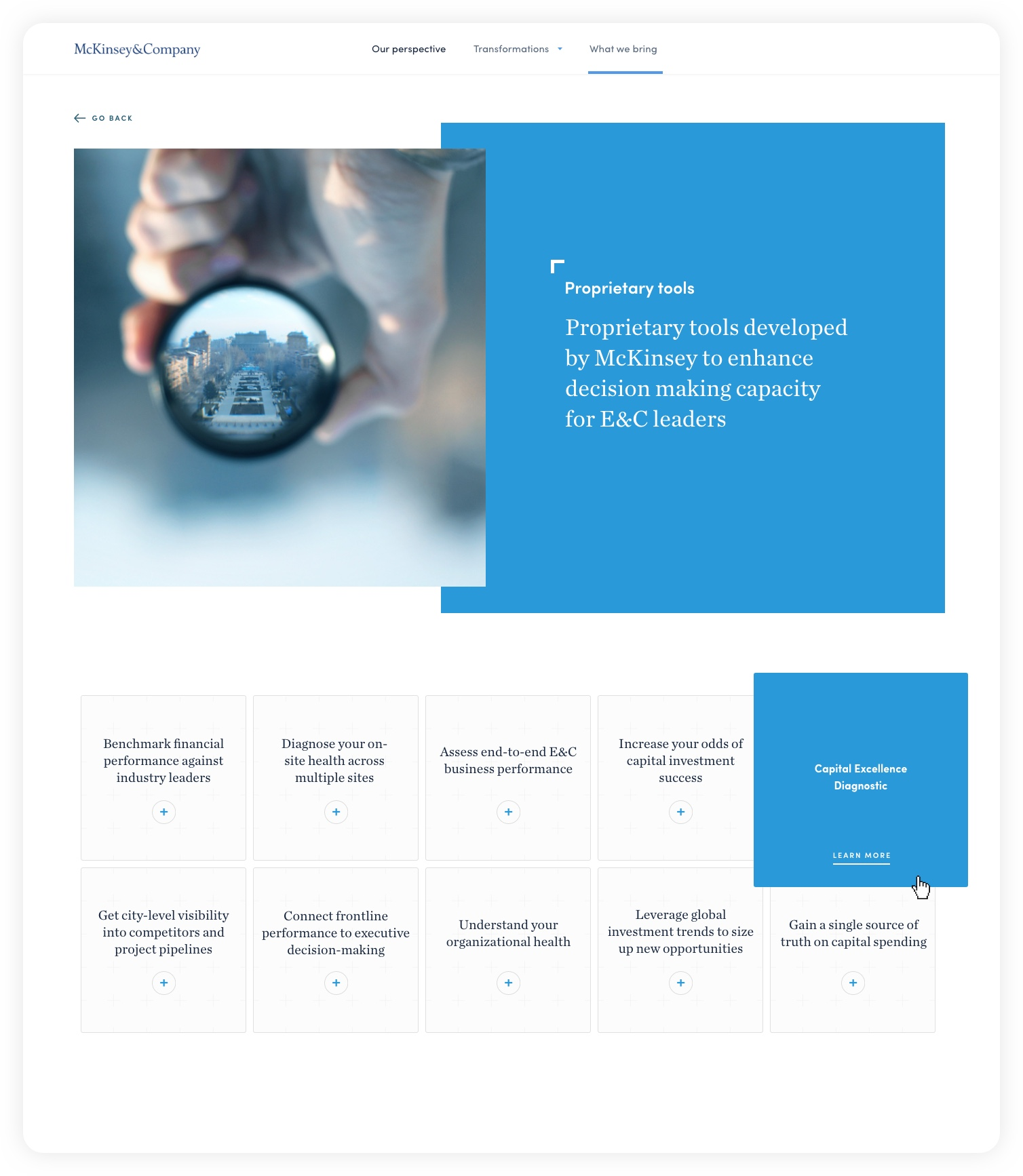 Design for header of proprietary tools – McKinsey C&E experience website: Navigating complexity