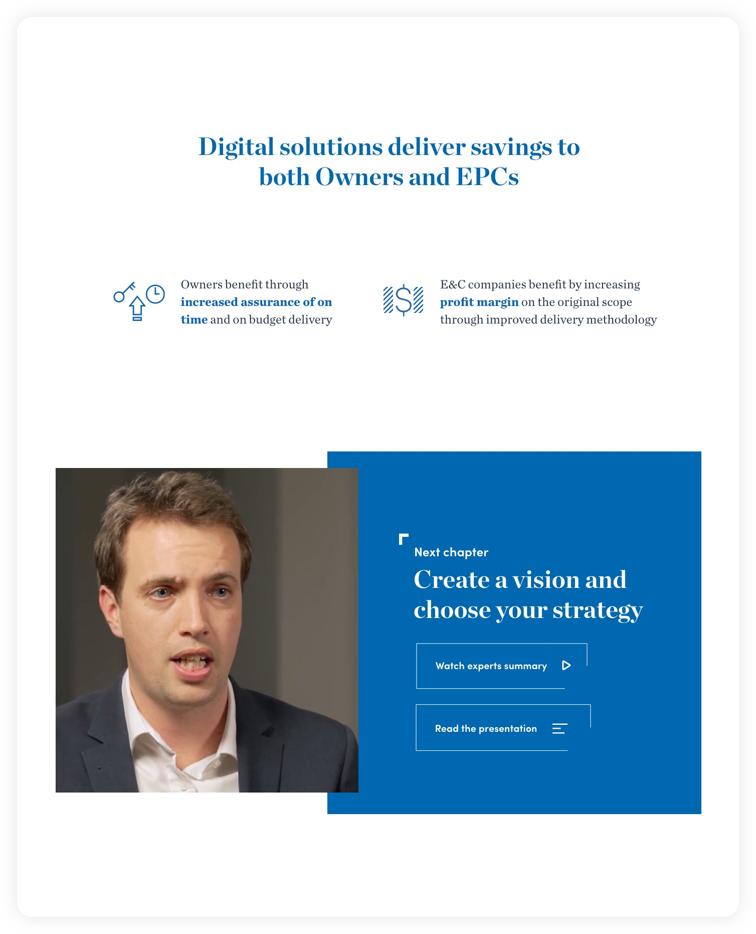 Digital solutions section – McKinsey C&E experience website: Navigating complexity