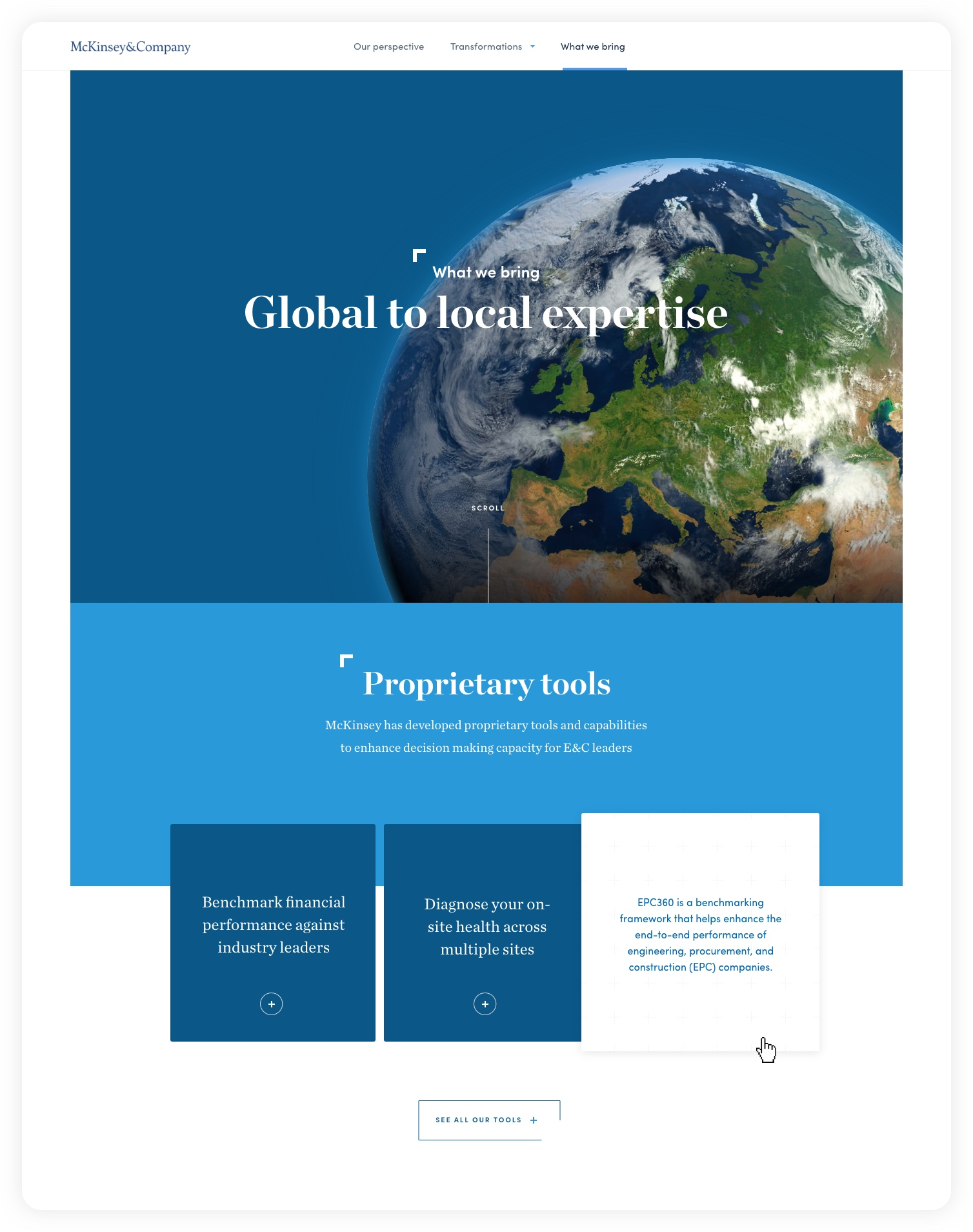 Design for header of What we bring: Global to local expertise – McKinsey C&E experience website: Navigating complexity