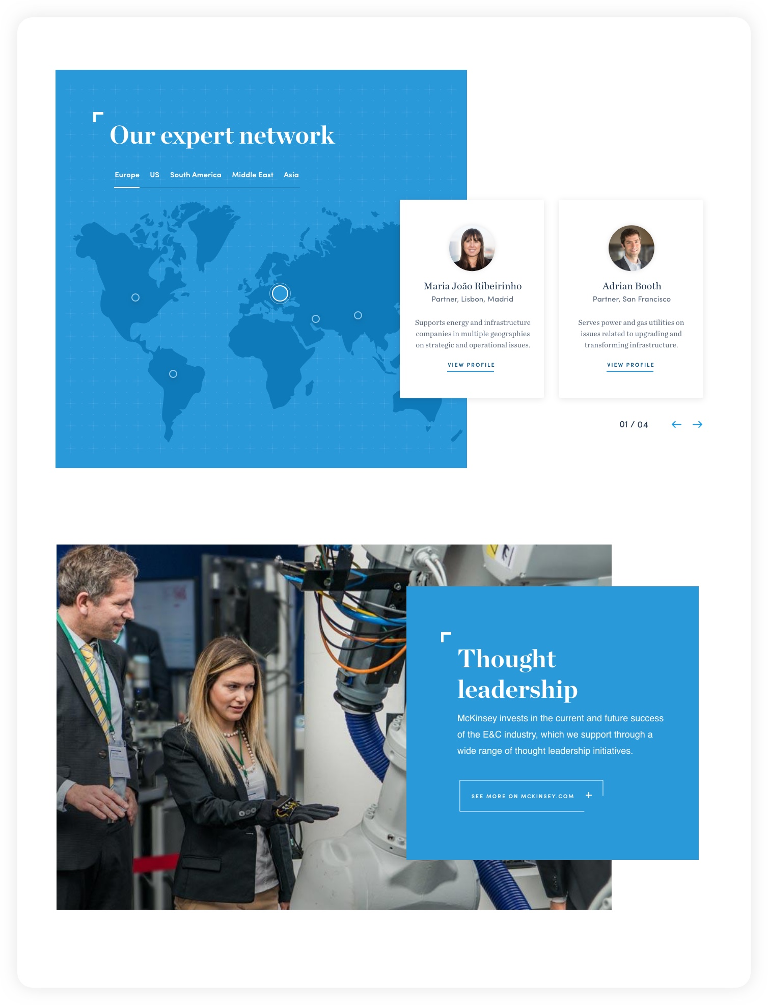 Design for Our expert network section, profiles – McKinsey C&E experience website: Navigating complexity