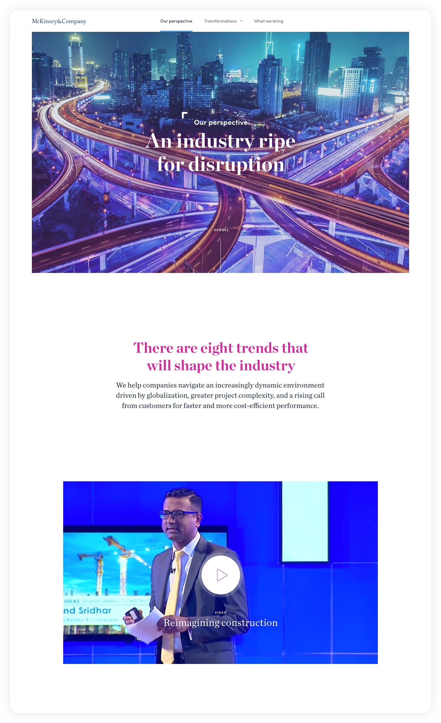 Design for header of our perspective: An industry ripe for disruption – McKinsey C&E experience website: Navigating complexity